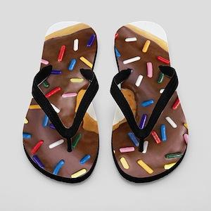 Chocolate Donut and Rainbow Sprinkles Flip Flops