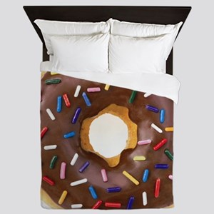 Chocolate Donut and Rainbow Sprinkles Queen Duvet