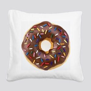 Chocolate Donut and Rainbow S Square Canvas Pillow