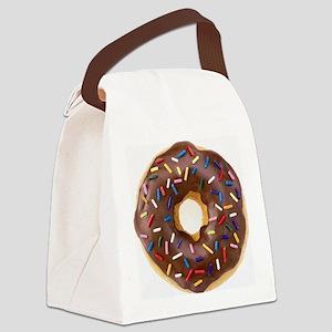 Chocolate Donut and Rainbow Sprin Canvas Lunch Bag
