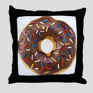 Chocolate Donut and Rainbow Sprinkles Throw Pillow