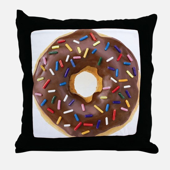 Chocolate Donut and Rainbow Sprinkles Throw Pillow