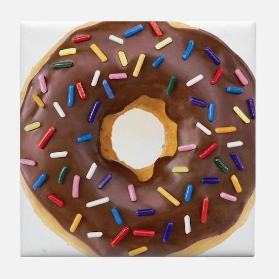Chocolate Donut and Rainbow Sprinkles Tile Coaster