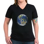 Peace On Earth Women's V-Neck Dark T-Shirt