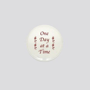 One Day At A Time-Burgundy Floral Mini Button