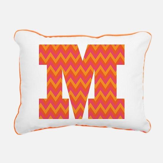 M Monogram Chevron Rectangular Canvas Pillow