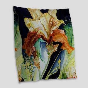 Orange and Yellow Iris Burlap Throw Pillow