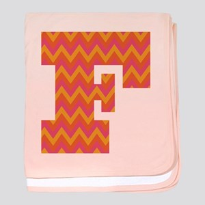 F Monogram Chevron baby blanket