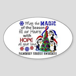 Pulmonary Fibrosis Christmas Pengui Sticker (Oval)