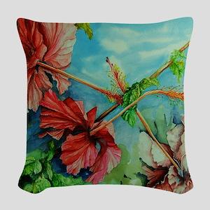 Hirokos Hibiscus 3 Woven Throw Pillow