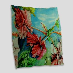 Hirokos Hibiscus 3 Burlap Throw Pillow