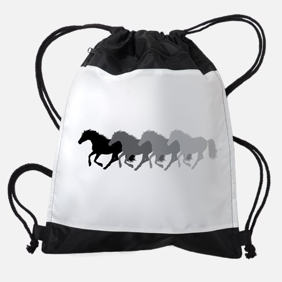 Four Horses Grayscale Drawstring Bag