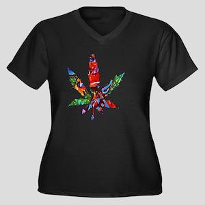 Trippy Pot L Women's Plus Size V-Neck Dark T-Shirt