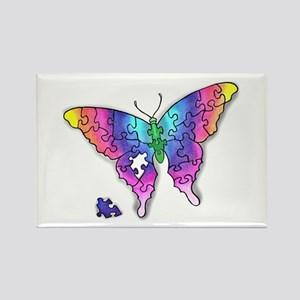 Rainbow Puzzle Buuterfly Rectangle Magnet