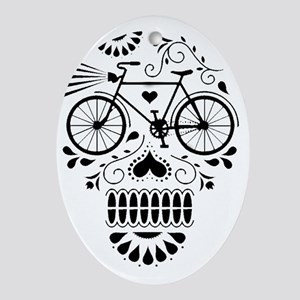 Day Of The Dead Bike  Oval Ornament