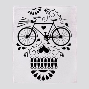 Day Of The Dead Bike  Throw Blanket