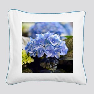 Blue hortensia Square Canvas Pillow