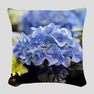 Blue hortensia Woven Throw Pillow