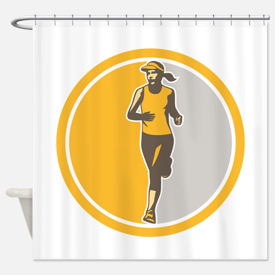 Female Triathlete Marathon Runner Circle Retro Sho