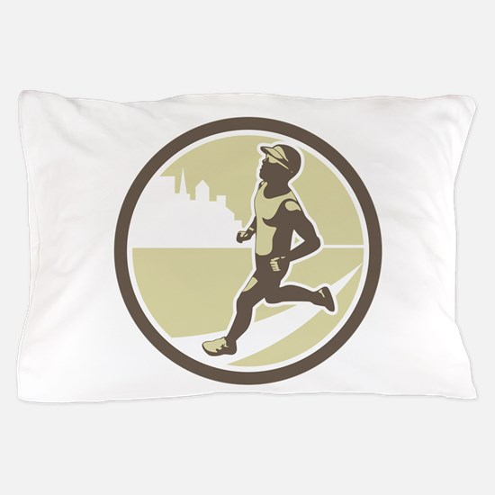 Triathlete Running Side Circle Retro Pillow Case