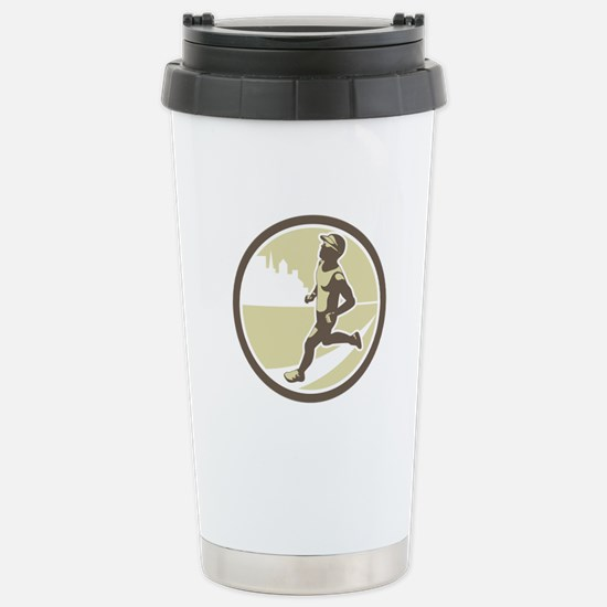 Triathlete Running Side Circle Retro Travel Mug