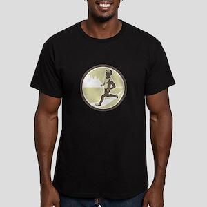 Triathlete Running Side Circle Retro T-Shirt