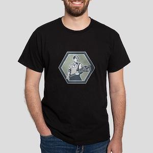 Plumber Holding Plumbing Wrench Retro T-Shirt