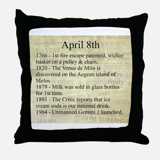 April 8th Throw Pillow