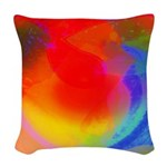 Playing larks Woven Throw Pillow