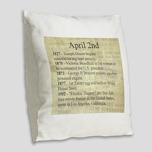 April 2nd Burlap Throw Pillow