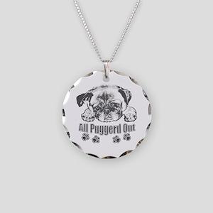 Puggerd out pug Necklace Circle Charm