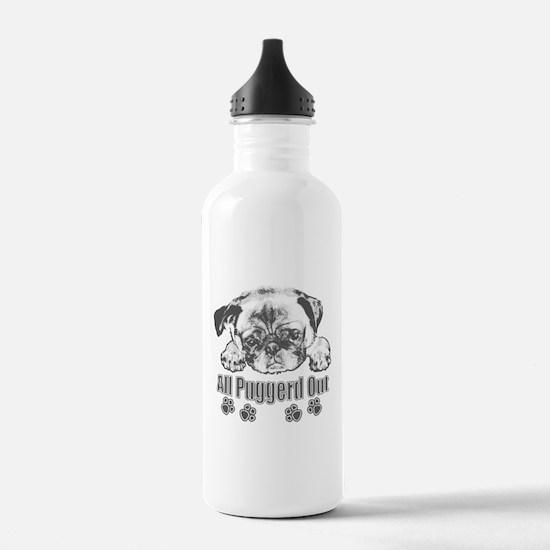 Puggerd out pug Water Bottle