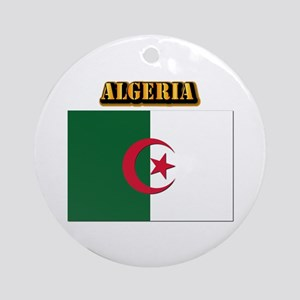 Flag of Algeria with Text Ornament (Round)