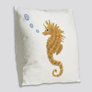 Seahorse Burlap Throw Pillow