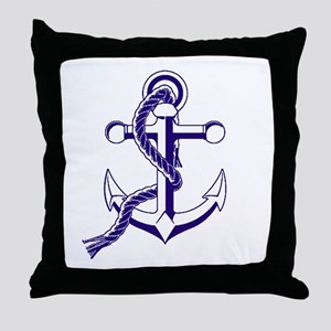 Old Style Anchor Throw Pillow