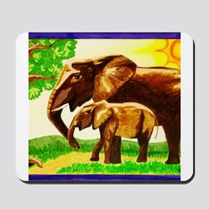Mother and Baby Elephants Mousepad