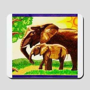 Mother and Baby Elephants Mousepad