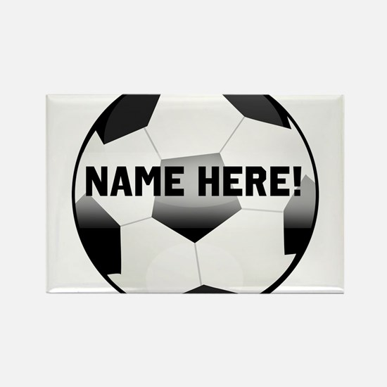 Personalized round soccer ball Rectangle Magnet