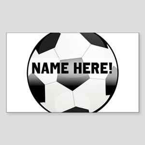 Personalized round soccer ball Sticker (Rectangle)