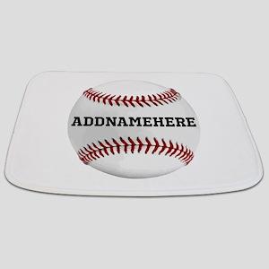 Personalized Baseball Red/White Bathmat