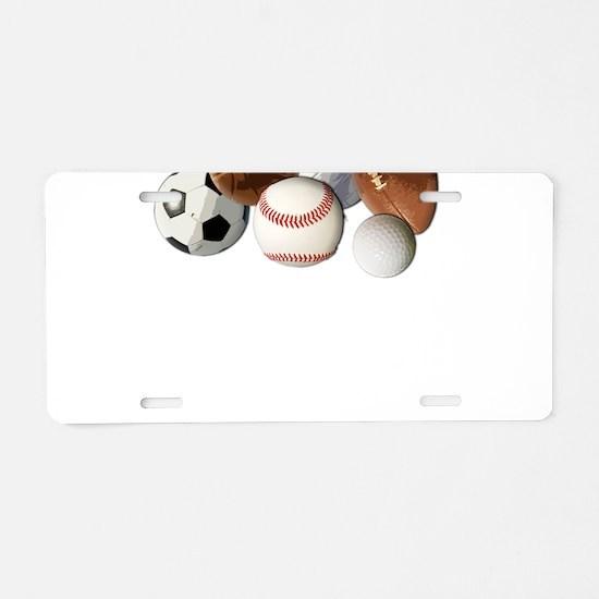 Sports Balls, Custom Name Aluminum License Plate