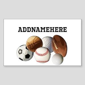 Sports Balls, Custom Name Sticker (Rectangle)