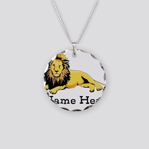 Personalized Lion Necklace Circle Charm
