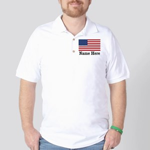 Personalized American Flag Golf Shirt