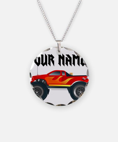 Personalized Monster Truck Necklace Circle Charm
