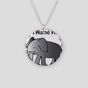 Personalized Elephant Necklace Circle Charm