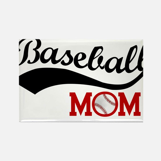 Baseball Mom Red/Black Wave Rectangle Magnet