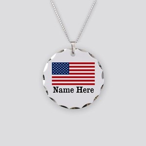 Personalized American Flag Necklace Circle Charm