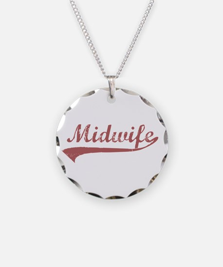 Midwife or Doula Necklace Circle Charm