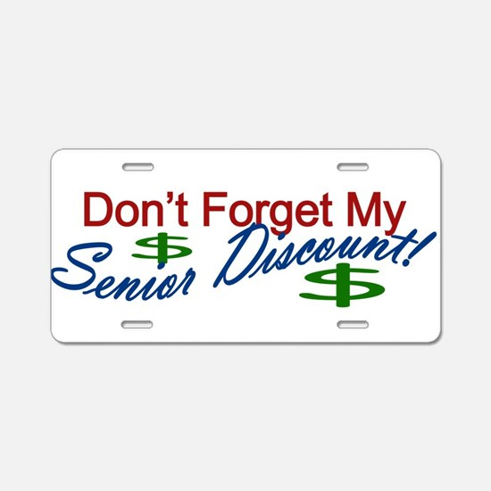 senior discount Aluminum License Plate